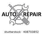 car repair design with crossed... | Shutterstock .eps vector #408703852