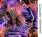 leopard rounds silk scarf...   Shutterstock . vector #408714772