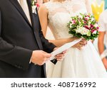 bride and groom with marriage... | Shutterstock . vector #408716992