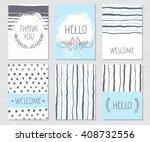vector vintage journal cards... | Shutterstock .eps vector #408732556