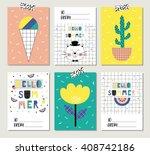vector set of bright summer... | Shutterstock .eps vector #408742186
