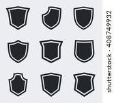 shield icons. vector black... | Shutterstock .eps vector #408749932
