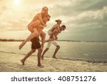 friends fun on the beach under... | Shutterstock . vector #408751276