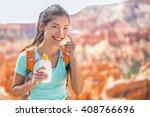 Hiker Sunscreen. Woman Hiking...