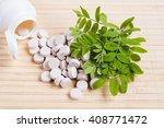 medicine herb. herbal pills... | Shutterstock . vector #408771472