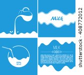milk flows from jug. spray... | Shutterstock .eps vector #408772012