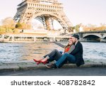 happy loving stereotypical... | Shutterstock . vector #408782842