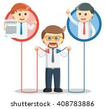 business man connecting a... | Shutterstock .eps vector #408783886