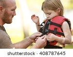 a father helping his daughter... | Shutterstock . vector #408787645