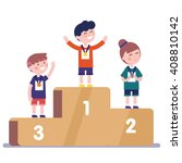 medalists kids standing on... | Shutterstock .eps vector #408810142