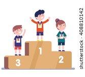 medalists kids standing on... | Shutterstock .eps vector #408810142