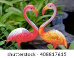 Two Pink Ceramic Flamingo In...