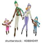 Ice Skating Family - Vector - stock vector