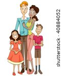 multiracial family   vector | Shutterstock .eps vector #40884052