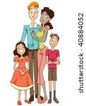 multiracial family   vector | Shutterstock .eps vector #40884052