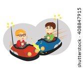 Boy Playing Bumper Car With...