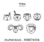 Set Of Tribal Animals Icon In...