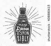 retro typography vector bottle...   Shutterstock .eps vector #408880615