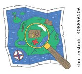 a map with a treasure and a...   Shutterstock .eps vector #408896506