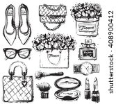 big vector fashion black and... | Shutterstock .eps vector #408900412