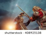 battle of a medieval knights on ... | Shutterstock . vector #408925138