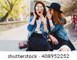 two  pretty cuter teenagers ... | Shutterstock . vector #408952252
