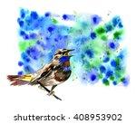 watercolor music bluethroat | Shutterstock . vector #408953902