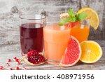 glasses of pomegranate ... | Shutterstock . vector #408971956