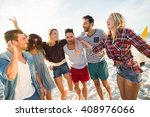 friends dancing on the beach on ... | Shutterstock . vector #408976066