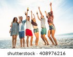 friends toasting on the beach... | Shutterstock . vector #408976216