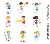 kids on summer vacation cartoon ... | Shutterstock .eps vector #409000642