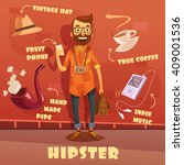 hipster character cartoon set... | Shutterstock .eps vector #409001536