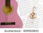 violet guitar for children with ... | Shutterstock . vector #409003852