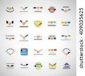 handshake icons set isolated on ... | Shutterstock .eps vector #409035625