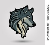 green wolf head design on gray... | Shutterstock .eps vector #409038232