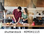 couple cooking hobby lifestyle... | Shutterstock . vector #409041115