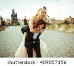 romantic handsome groom... | Shutterstock . vector #409057156