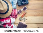 travel clothing accessories... | Shutterstock . vector #409069876