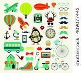 vector retro vintage hipster... | Shutterstock .eps vector #409077442