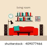 interior of a living room with...   Shutterstock .eps vector #409077466