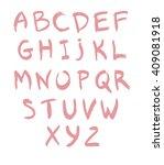 pink hand drawn alphabet baby... | Shutterstock .eps vector #409081918