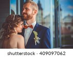 closeup portrait of stylish... | Shutterstock . vector #409097062