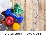 blue dumbbell  white towel ... | Shutterstock . vector #409097086