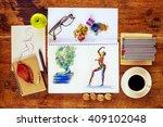 top view of artist workspace...   Shutterstock . vector #409102048