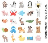 animal 25 cartoon icons set for ... | Shutterstock . vector #409115926
