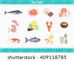 seafood set design flat fish... | Shutterstock .eps vector #409118785