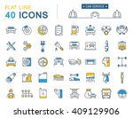 set vector line icons car... | Shutterstock .eps vector #409129906