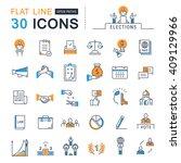 set vector line icons in flat... | Shutterstock .eps vector #409129966