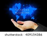 Small photo of hand touch facebook algorithm technology background