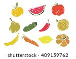 colorful fruits and vegetables...   Shutterstock .eps vector #409159762